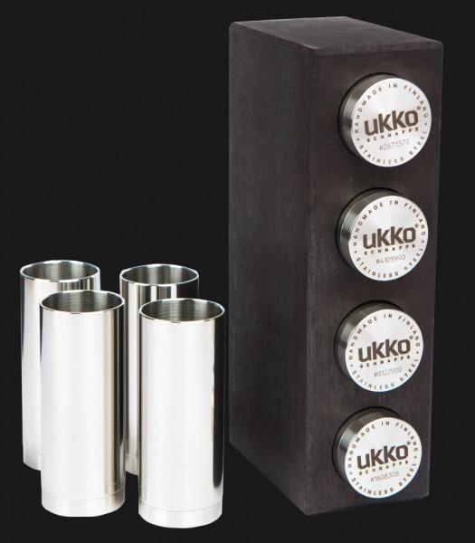 UKKO Schnapps Koivu-4 Schapsbecher Edelstahl in Birkenholzständer